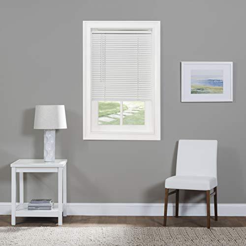 "Achim Home Furnishings Cordless Morningstar 1"" Light Filtering Mini Blind, Width 27inch, Pearl White"