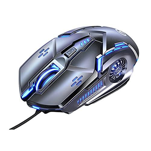 Mysz do gier, przewodowy mikrofon do gier RGB, ergonomiczne myszy USB, technologia dźwięku przestrzennego i 3200DPIi 7 przycisków i 7 kolorów podświetlany do laptopa komputera komputera komputera stacjonarnego, praworęcznego (szary)