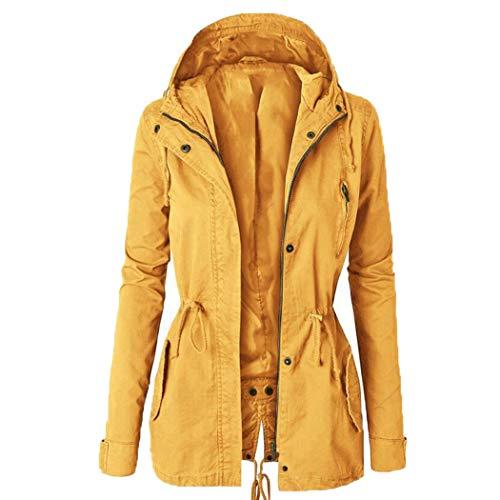 MALPYQ Dames herfst en winter jas effen kleur trekkoord slim fit capuchon split trench jas mid-length jas