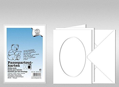 URSUS Passepartoutkarten A6 weiß Ausschnitt oval, 10 Stück mit Kuvert
