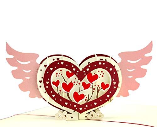 3D Herzkarte mit Flügeln – Geburtstagskarte für Sie & Ihn, Liebeskarte zum Jahrestag oder Verlobung (Ich liebe Dich), Pop-Up Hochzeitskarte mit Herzchen