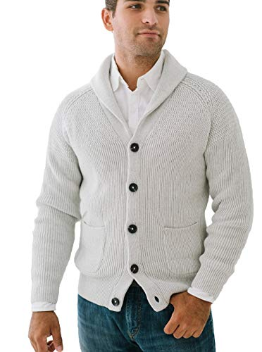 Hope & Henry Men's Mixed Knit Shawl Collar Cardigan Sweater