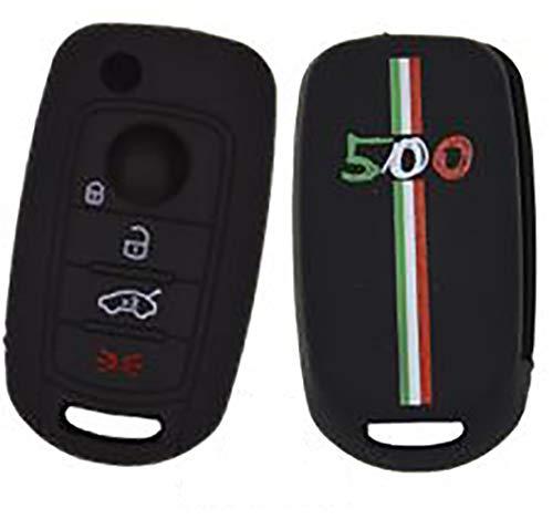 Tech11 Fiat 500X - Protezione in Silicone per Telecomando Chiave per Fiat 500X - Fiat 500X - Fiat Tipo. (Controllare la Forma delle Chiavi) (500 - Nero con Tricolore)