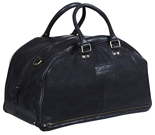 Hampton Schwarzes Leder Reise Weiterführen Duffle Tasche Gepäck Für Männer und Frauen