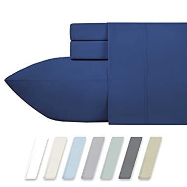 600 Thread Count Best 100% Cotton Sheets – True Blue Long-staple Cotton Queen Sheet For Bed, Fits Mattress Upto 18'' Deep Pocket, Breathable & Silky Sateen Weave 4 Piece Sheets and Pillowcases