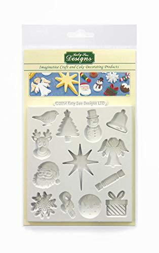 Kerstversieringen siliconen mal voor taartdecoratie, ambachten, cupcakes, suikerwerk, snoepjes, chocolade, kaarten maken en klei, voedselveilig goedgekeurd, gemaakt in het Verenigd Koninkrijk