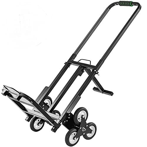VEVOR Carrito de Mano para Escaleras 330 lbs (150 kg), Carretilla Escaladora Plegable de Acero, con Mango Ajustable de 1145-730 mm, Carro para Subir Escaleras con 6 Ruedas de Goma Sólidas