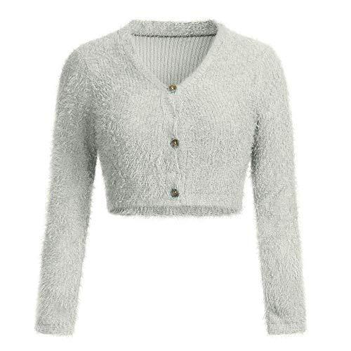 VJGOAL Mujer Otoño e Invierno Moda Casual Color sólido Cuello en v Manga Larga Cardigans Peludos con botón Sexy suéter Corto Recortar Tops Populares
