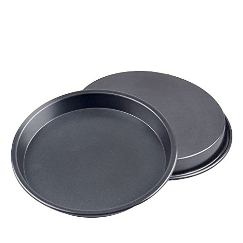 2pcs Metal Pizza Plate Pan Cake Chassis Tray Non Stick Pizza Baking Tray Set