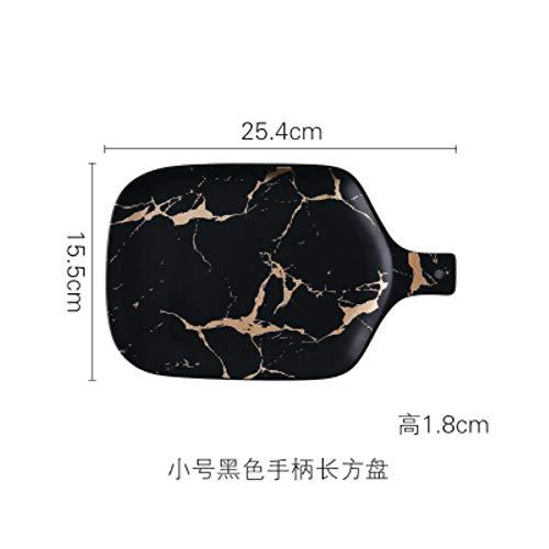 Nordic servies goud marmer glazuur keramiek party servies porselein ontbijtbord schaaltjes pastakom koffiekopje kop voor decoratie, 25,4 cm zwarte plaat