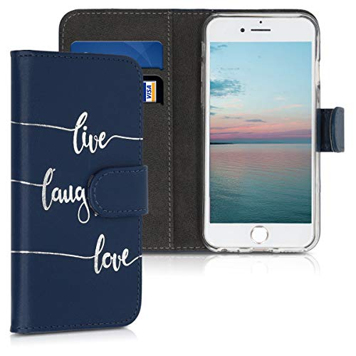 kwmobile Funda para Apple iPhone 6 / 6S - Carcasa de Cuero sintético con diseño Live, Laugh, Love - Case con Tarjetero
