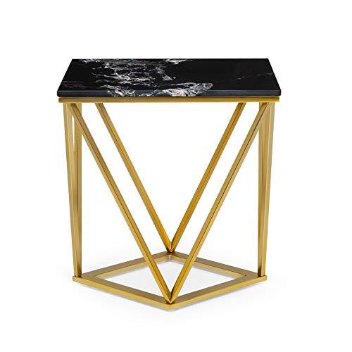 Besoa Black Onyx II Mesa para el sillón - Mesa Auxiliar, 50 x 55 x 35 cm, Soporte de mármol Blanco, Hecho en Metal con Todos Dorados y Negros
