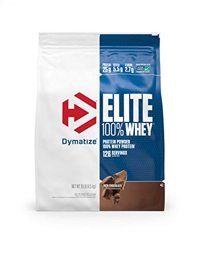 Dymatize Elite 100% Whey Protein Powder, 25g Protein, 5.5g BCAAs & 2.7g L-Leucine, Quick Absorbing & Fast Digesting for Optimal Muscle Recovery, Rich Chocolate, 10 Pound.
