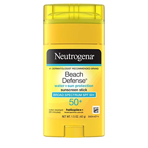 Neutrogena Beach Defense Water-Resistant Sunscreen Stick with Broad Spectrum SPF 50+, PABA-Free and Oxybenzone-Free, UVA/UVB Protection, Face & Body Sunscreen Stick, 1.5 oz