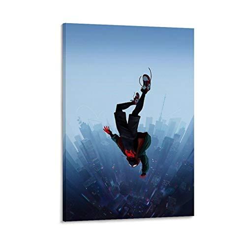 Ghychk Póster de superhéroe Spider-Man Into The Spider-Verse para pared con cuadros modernos sobre lienzo para sala de estar, listo para colgar, 50 x 75 cm