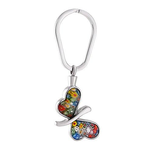 Urn Keychain voor as, Butterfly Murano Glass Ash herdenkingsherinnering RVS Hanger Assieraden