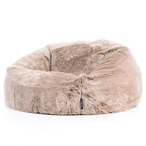 icon Ottawa Faux Fur Bean Bag Chair - Mink Brown, Large, 85cm x 50cm, Luxurious Furry Living Room Bean Bags for Adults