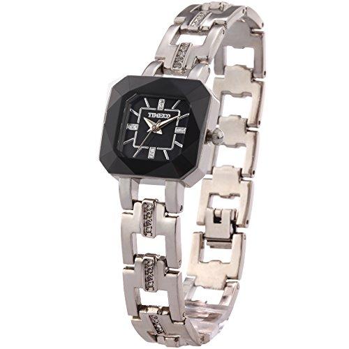 Time100 Orologio da polso da donna, cinturino in acciaio inox colore bianco W80023L.01A