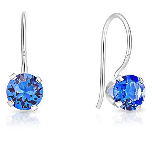 DTPsilver - Orecchini a Gancio - Argento 925 con Cristalli Swarovski Elements Rotondi - Diametro 6 mm - Colore: Blue Zaffiro