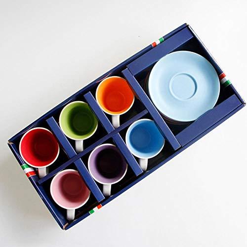 Jooyouo-TH Kaffeetassen 6 Stück Bunte professionelle Espressotassen mit Tablett 100ml Italien schwarz Starke Kaffeetassen Keramik Kaffee Tee Caneca-Gift_Box_Set_100ml