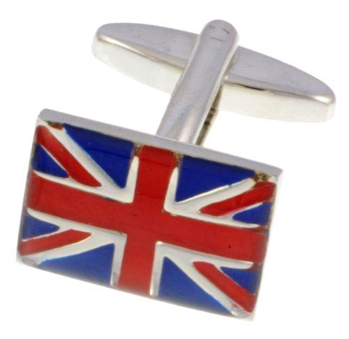 Paire de boutons de manchettes Union Jack en Chrome Livré dans une boîte cadeau