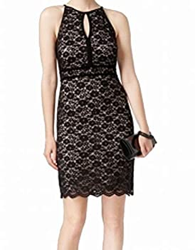 Nightway Women s Lace Short Banded Dress with A Key Hole Missy Black/Nude Size 12