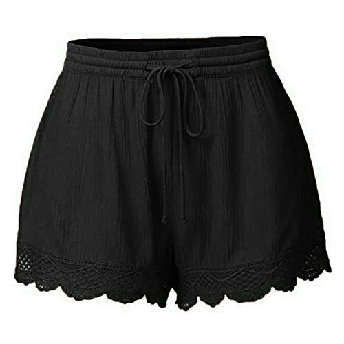 Lulupi Damen Shorts,Schlafanzug Shorts Baumwolle Nachtwäsche Sleepwear mit Spitze Tops und Shorts für Sommer Shorts Kurze Hose mit Schleife zum binden Bermuda Weich fließende Shorts