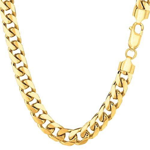 JewelryAffairs Uomo Collana a catena in oro giallo14K, stile Miami / Cuba, larghezza 6, 9 millimetri Giallo