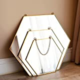 HXSM Hexagon Mirror Gold Bathroom Mirror Handmade Wall Mirror Thin Metal Frame Mirror with Hanging Chain Vintage Decoration 26x30cm