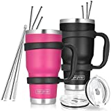 30oz Tumbler , 2 Packs Stainless Steel Double Wall Vacuum Insulated Tumbler Travel Mug With 10Pcs Reusable Straw, 2Pcs Slider Lid, Cleaning Brush, 2Pcs Handles (Black + Rose)