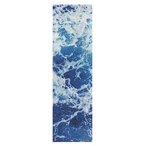 Arte Azul Olas Mar Cielo Monopatín Papel de Lija Antideslizante Hoja Cinta de Agarre Lijas para Patineta Scooter Etiquetas engomadas (84 x 23 cm)