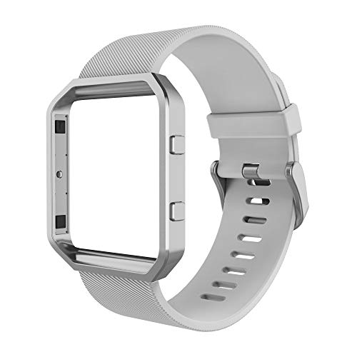 Simpeak Sport Band Compatible with Fitbit Blaze Smartwatch Sport Fitness, Silicone Wrist Band with Meatl Frame Replacement for Fitbit Blaze Men Women, Large, Grey Band+Silver Frame