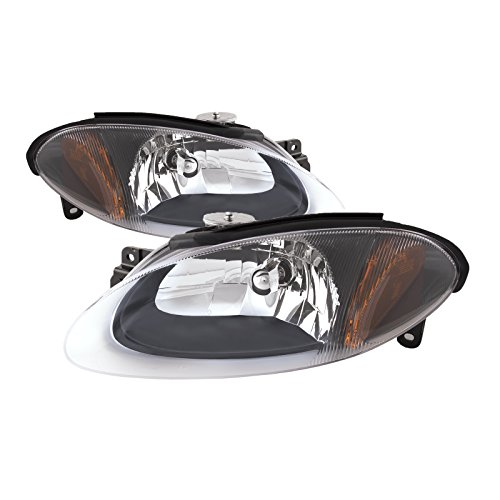 PERDE Compatible with Ford Escort ZX2 New Black Housing Headlights Set Headlamps...