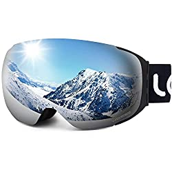 LEMEGO Ski Goggles Ski Goggles Snowboard Goggles Double Lens Anti-Fog Frameless UV Protection Snow Goggles Helmet Compatible Magnetic Interchangeable Lenses Goggles For Women Men Snowboarding