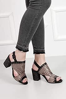 Gön Deri Kadın Sandalet 35054 SİYAHA GRİ