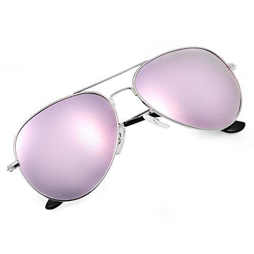 Yveser Polarisierte Sonnenbrille Pilotenbrille für Männer und Frauen Yv3025 (Rosa Linse/Silber Rahmen)