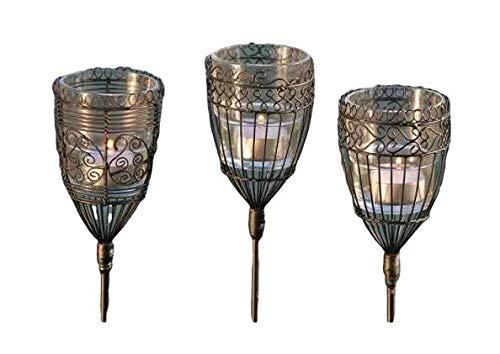 Boltze Windlicht Gartenstecker, Windlicht outdoor, Gartenstab, H 94 cm, Eisen, schwarz, 3er Set