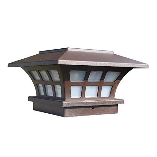 Solar Pfostenkappe Licht LED, Außen Säulenleuchte IP65 Wasserdichte, Gartenleuchte mit Projektion Kaltweiß Beleuchtung, Landschaftslampe für Holzpfosten Weg Innenhof Patio Straßen Wand