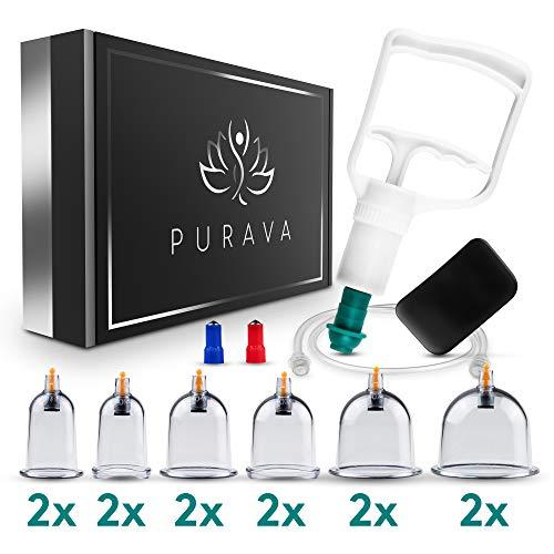 PURAVA® [12 Stück] - Schröpfgläser mit Vakuumpumpe - Hochwertige medizinische Schröpfen mit Therapiemagneten - Inklusive E-Book - Schröpfglas gegen Verspannungen und Cellulite - TCM Cupping Set
