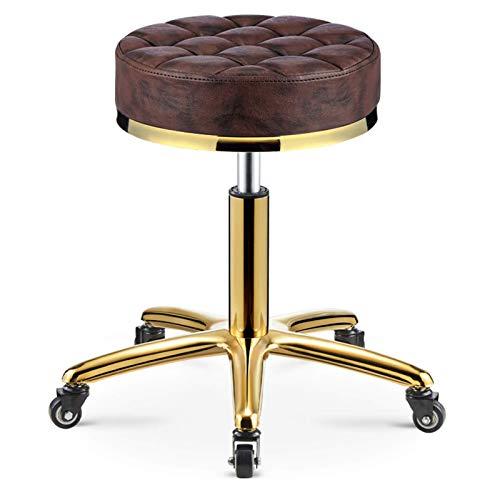 QLIGAH Sgabello rotolante con Cuoio PU Lifting Altezza Regolabile Sgabelli da Parrucchieri con Ruote di Rotazione a 360 ° per Spa Drafting Salon