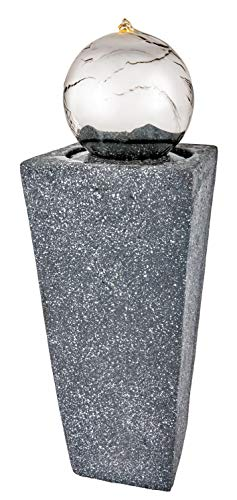 Premier Tower Outdoor Garden Patio Water Feature with Stainless Steel Ball and Warm White LED Light