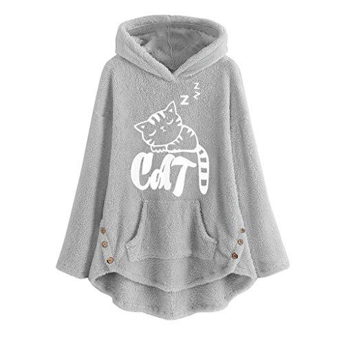 TUDUZ Sudadera con Capucha Mujer Jersey Acrílico LanaGato Pijama Hoodie Botón Abrigo Cálido Talla Extra S-5XL (GrisD, XXL)