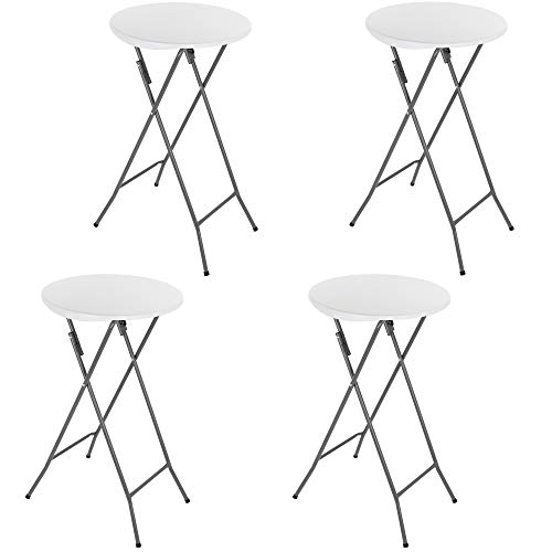 GRANDMA SHARK Round Folding Table, Foldable Bar Table for Indoor Bistro Breakfast Outdoor Party Wedding, White (4 Pcs)