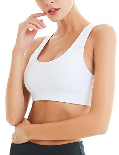 COOLOMG Damen Sport BH Top Yoga Fitness Training Schulterträger BH-Polster abnehmbar Push up Bras für Damen, Weiß, Medium / für 80A 80B 80C 75D 75DD 75E