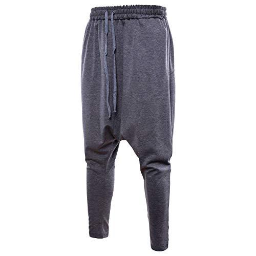 Haremshose für Herren im Schritt, elastische Taille, Kordelzug, Baggy Tapered Leg Hip Hop Dance Sweatpants Schwarz Casual Multi-Pocket Techwear Gr. 31-35, grau