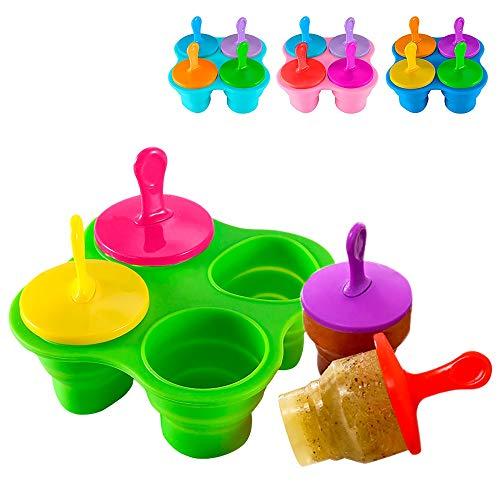 Ertisa Baby-stieleis Moulds, 4 stück EIS am stiel Mold silikon bpa-frei Wiederverwendbare stieleis Maker Set mit stöcken und drip Guards für Erwachsene Kinder