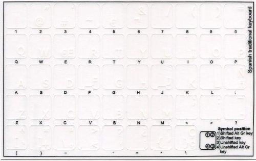 Qwerty Keys Pegatinas Teclado español Transparentes con Letras Blancas - Apto para Cualquier Teclado
