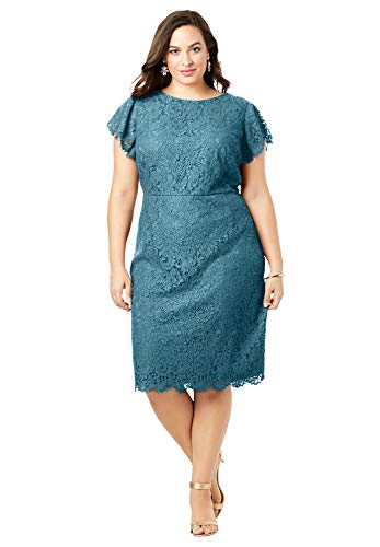 Roamans Women's Plus Size Lace Sheath Dress with Flutter Sleeves - 26 W, Frost Teal