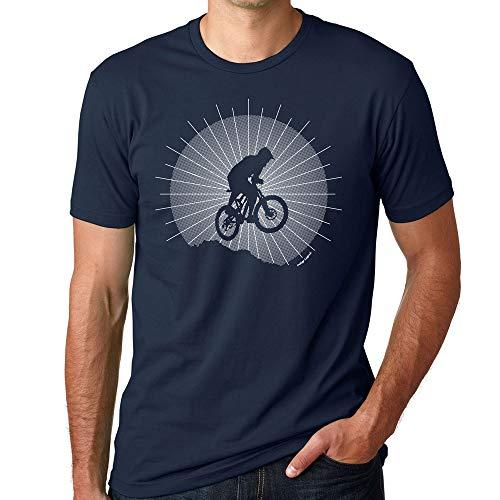 Indigo Legend Mens Mountain Bike Graphic Tees T Shirt Catching Air, Screen Printed (Navy, Mens L)