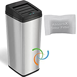 iTouchless 14 Gallon Sliding Lid Automatic Sensor Trash Can-best touchless trash can